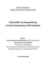 Rationalität und Ausgestaltung privater Finanzierung in PPP-Projekten