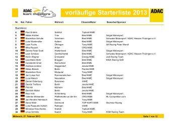 Starterliste Masters 2013.pdf - ADAC Motorsport