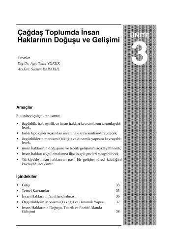 Çağdaş Toplumda İnsan Haklarının Doğuşu ve Gelişimi - Anadolu ...