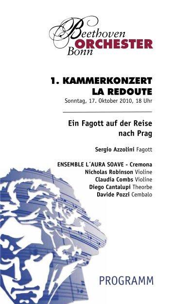 1. KAMMERKONZERT La Redoute - Das Beethoven Orchester Bonn