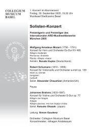 Solisten-Konzert - Collegium Musicum Basel