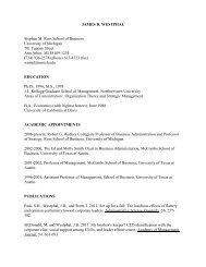 james d. westphal - Stephen M. Ross School of Business ...