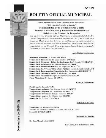 Boletín Oficial Municipal - Municipalidad de Rio Cuarto