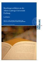 Berufungsverfahren an der Albert-Ludwigs-Universität Freiburg