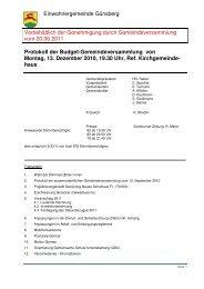 Protokoll der Budget-Gemeindeversammlung von ... - Günsberg