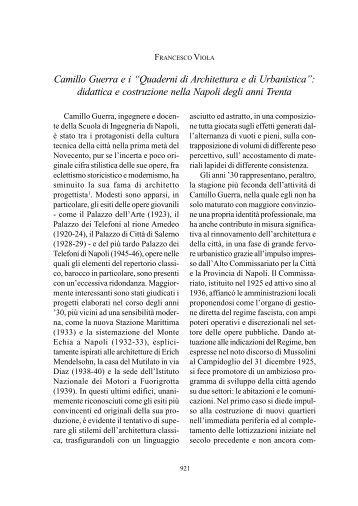 """Camillo Guerra e i """"Quaderni di Architettura e di Urbanistica ... - AISI"""