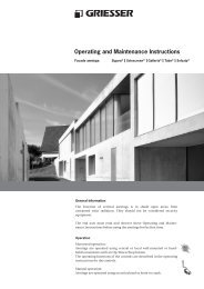 Operating and Maintenance Instructions - Griesser