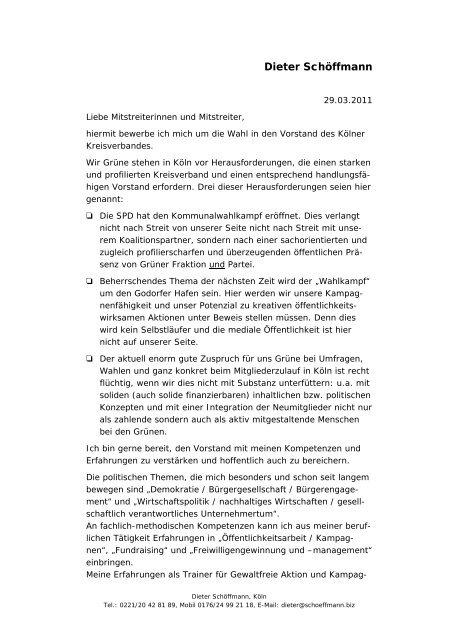 Dieter Schöffmann - Bündnis 90/Die Grünen Kreisverband Köln