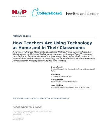 How Teachers Are Using Technology at Home and in Their Classrooms