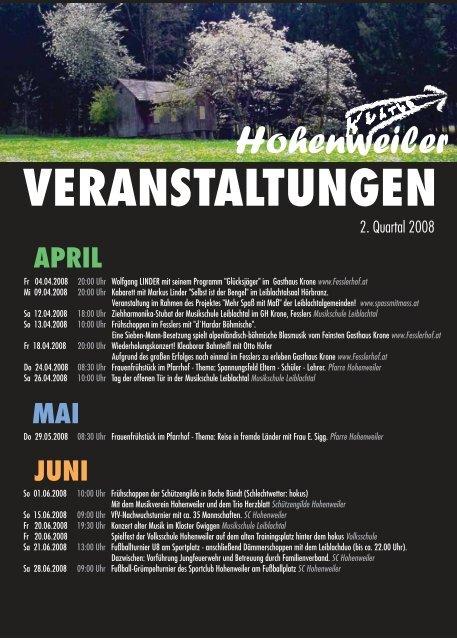 VERANSTALTUNGEN - Hohenweiler