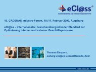 Th. Einsporn, eCl@ss eV, Köln www.eclass.de - CADENAS Industry-Forum