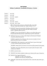MEMORIE Istituto Lombardo Accademia di Scienze e Lettere