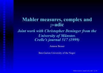 Mahler measures, complex and p-adic
