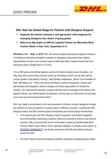 Dhl fashion week miami final mercedes benz fashion week for Mercedes benz press release