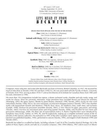 New Music Concerts 2010-2011 Season