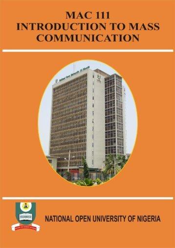 mac 101: introduction to mass communication - National Open ...