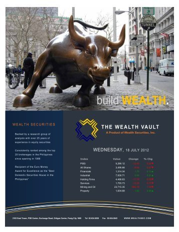 A Product of Wealth Securities, Inc. - Philequity Management, Inc.