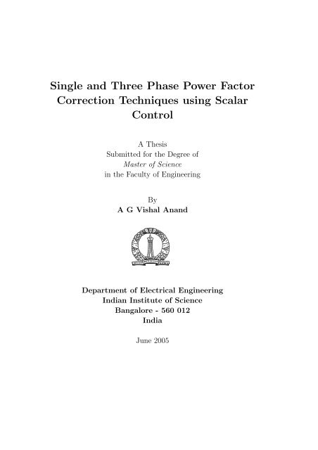 Single and Three Phase Power Factor Correction Techniques using
