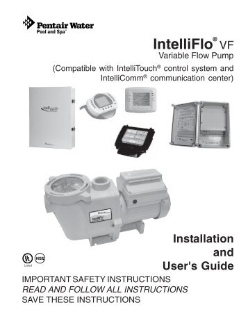 intelliflo vf installation owners manual pool center rh yumpu com pentair intelliflo variable speed pump installation manual Pentair IntelliFlo Variable Speed Pump