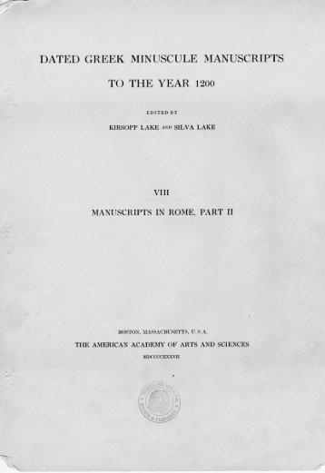 VIII. Manuscripts in Rome, Part II, Boston 1937 - Pyle. A Gateway to ...