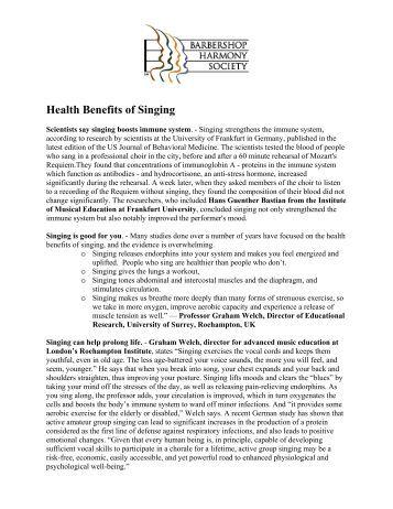 Health Benefits of Singing - Barbershop Harmony Society