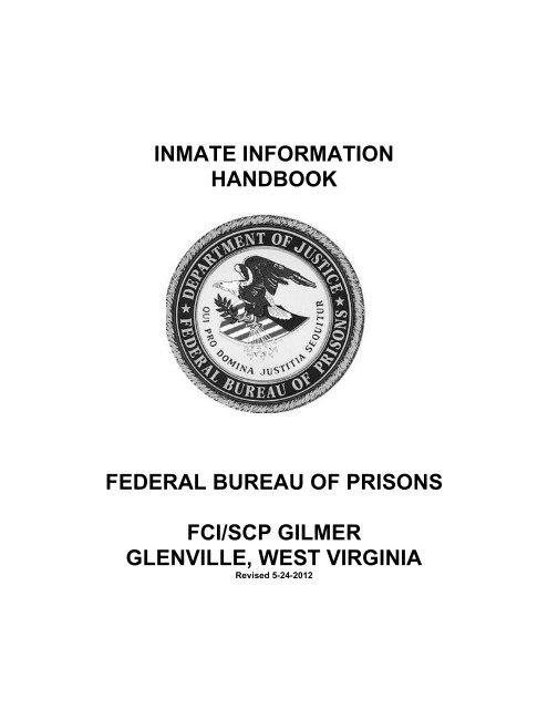 Inmate information handbook - Federal Bureau of Prisons
