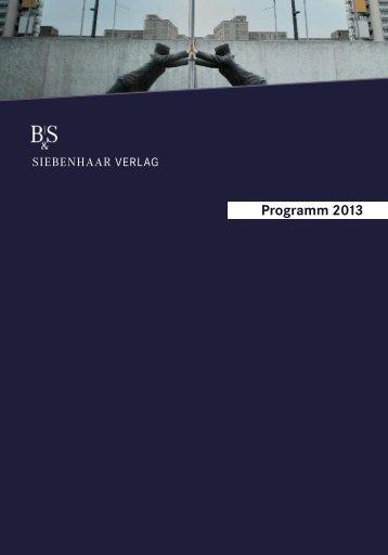 Unsere aktuelle Vorschau zum downloaden. - b&s siebenhaar verlag