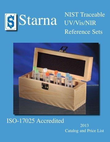 Reference Sets NIST Traceable UV/Vis/NIR ISO ... - Starna Cells