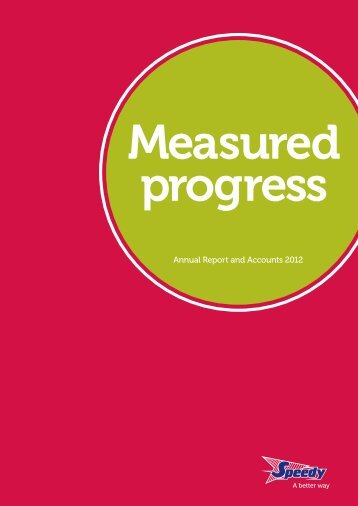 Annual Report and Accounts 2012 - Speedy Hire plc