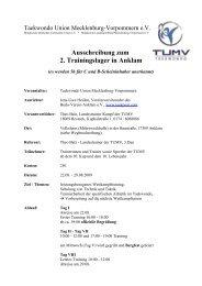 Ausschreibung zum 2. Trainingslager in Anklam - TUMV