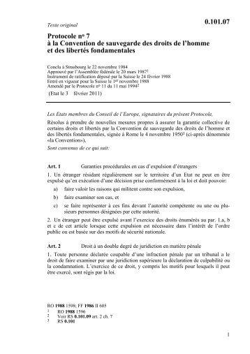 Protocole no 7 à la Convention de sauvegarde des droits ... - UNHCR