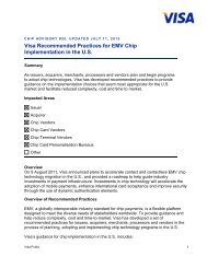 Visa Recommended Practices for EMV Chip Implementation in the US