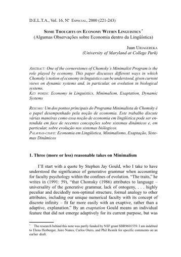 Algumas Observações sobre Economia dentro da Lingüística - SciELO