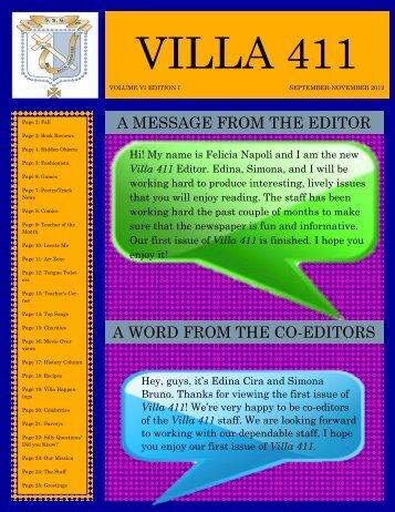 Villa 411 September - November 2012 - St John Villa Academy