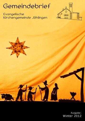 Gemeindebrief Winter 2012 - Evangelische Kirchengemeinde ...
