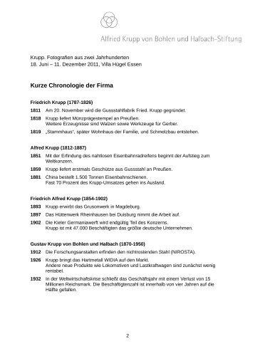 Kurze Chronologie der Firma - Essen - Villa Hügel