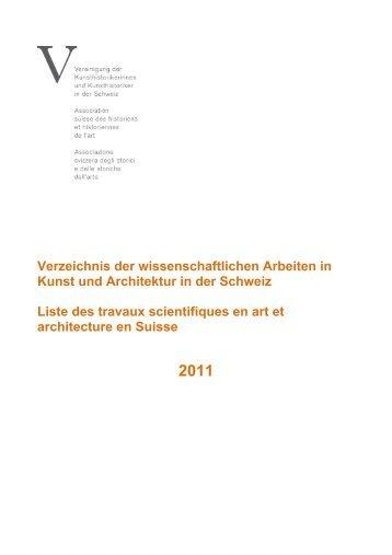 Verzeichnis der wissenschaftlichen Arbeiten in Kunst und ...