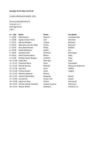 Startlijst 25-07-2011 22:57:50 CUIJKSE DRESSUUR DAGEN 2011 ...