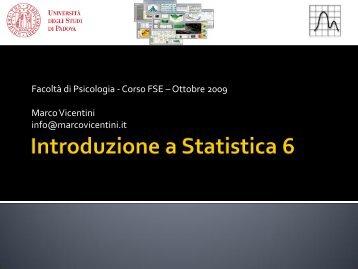 Introduzione a Statistica: elementi base [Pdf] - Marco Vicentini