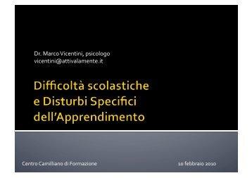 Disturbi dell'apprendimento - Marco Vicentini