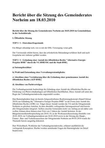 Bericht über die Sitzung des Gemeinderates Norheim am 18.03.2010