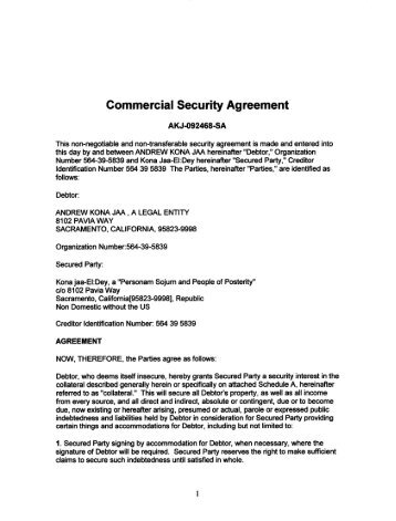 Private Security Agreement National Republic Registry