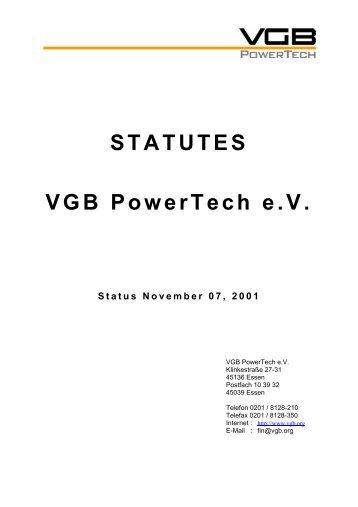 STATUTES VGB PowerTech e.V.