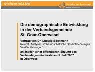 Die demographische Entwicklung in der Verbandsgemeinde St. Goar