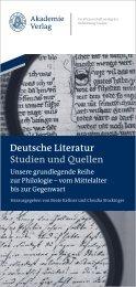 Deutsche Literatur Studien und Quellen - Oldenbourg Verlag