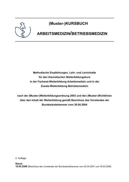 Muster Kursbuch Arbeitsmedizin Betriebsmedizin Pdf