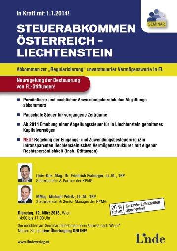 steuerabkommen österreich – liechtenstein - Linde Verlag
