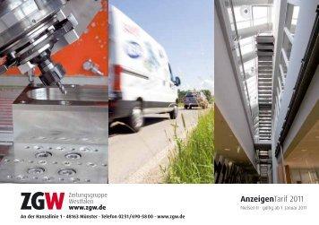 AnzeigenTarif 2011 - Zeitungsgruppe Westfalen