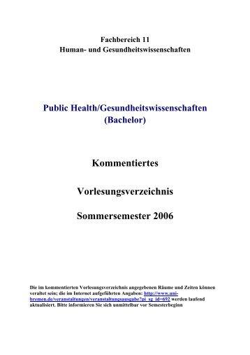 Public Health / Gesundheitswissenschaft, BA - Fachbereich 11 ...
