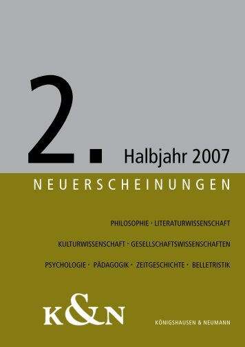 vorschau_2_2007 - Verlag Königshausen & Neumann